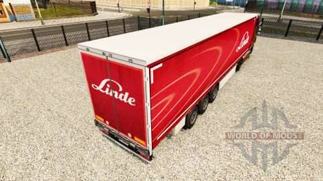 Linde skin on the trailer curtain for Euro Truck Simulator 2