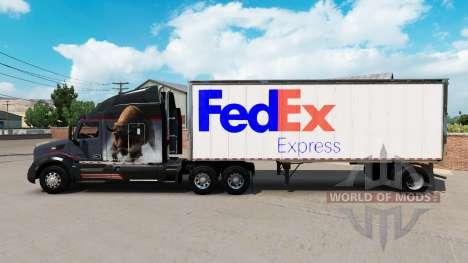 Skin FedEx small trailer for American Truck Simulator