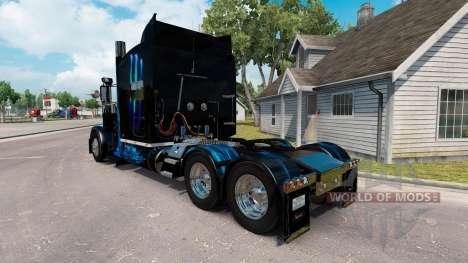 Skin Monster Energy Blue for the truck Peterbilt for American Truck Simulator