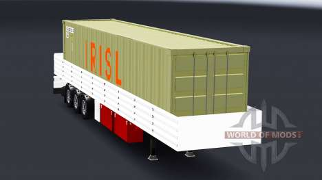 Flatbed semi trailer with container cargo for American Truck Simulator