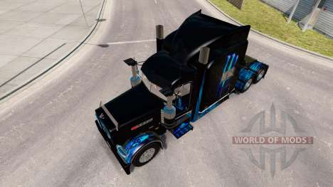 Skin Monster Energy Blue for the truck Peterbilt for American Truck Simulator