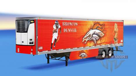 Skin Denver Bronco on refrigerated semi-trailer for American Truck Simulator