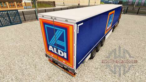 Skin Aldi on a curtain semi-trailer for Euro Truck Simulator 2
