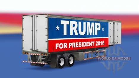 Skin Trump 2016 on a curtain semi-trailer for American Truck Simulator