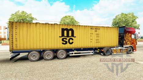 The semitrailer-the container ship MSC Crewing S for Euro Truck Simulator 2