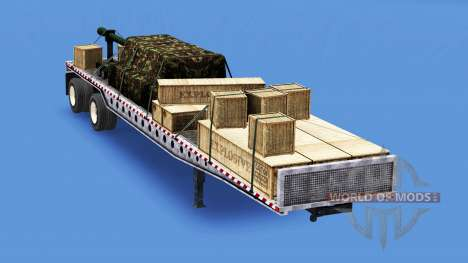 The semitrailer-platform with different loads v3 for American Truck Simulator