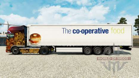 Skin The co-operative food on a curtain semi-tra for Euro Truck Simulator 2