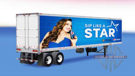 Pepsi skin for the refrigerated trailer for American Truck Simulator