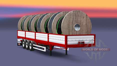 Flatbed semi trailer with cable load for Euro Truck Simulator 2