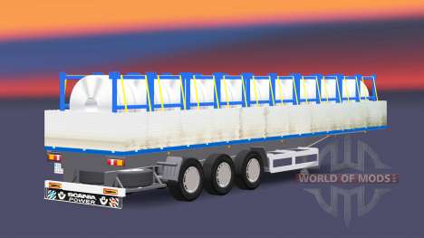 Flatbed semi trailer with a cargo of steel coils for Euro Truck Simulator 2