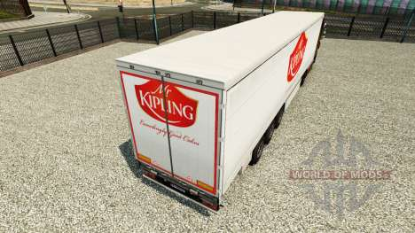 Skin Mr.Kipling on a curtain semi-trailer for Euro Truck Simulator 2