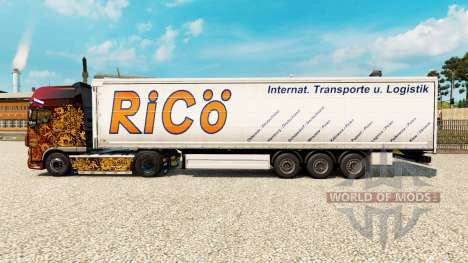 Skin Rico on curtain semi-trailer for Euro Truck Simulator 2