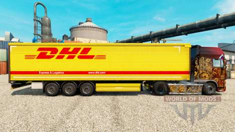 DHL v3 skin for trailers for Euro Truck Simulator 2