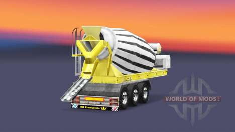 Semi-trailer concrete mixer for Euro Truck Simulator 2