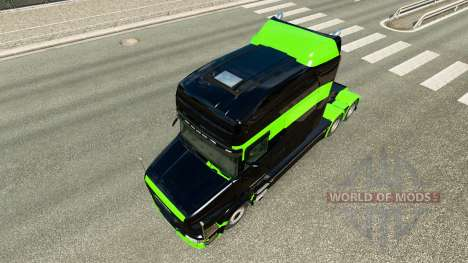 Skin Black-green-for truck Scania T for Euro Truck Simulator 2