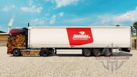 Skin Siodemka on a curtain semi-trailer for Euro Truck Simulator 2