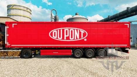 Skin Du Pont red for trailers for Euro Truck Simulator 2