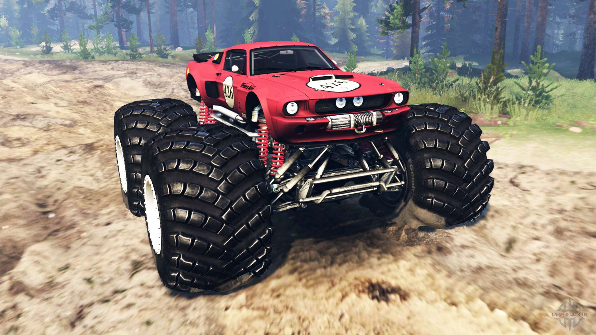Ford mustang shelby gt500 monster truck for spin tires