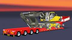 Low bed trawl Doll Vario with excavator Volvo