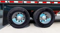 Chrome plated wheel rims of semi-trailers