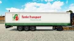 Skin Tanke Transport on semi-trailer curtain