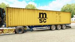 The semitrailer-the container ship MSC Crewing S