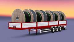 Flatbed semi trailer with cable load