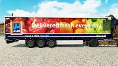 Skin Aldi Delivered Fresh on a curtain semi-trai