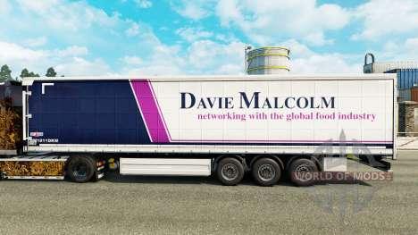 Skin Davie Malcolm on a curtain semi-trailer for Euro Truck Simulator 2