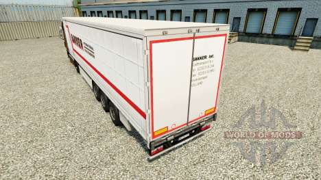 Skin Bakker on a curtain semi-trailer for Euro Truck Simulator 2