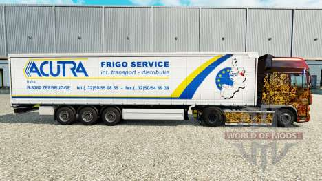 Skin Acutra on a curtain semi-trailer for Euro Truck Simulator 2