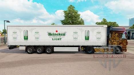 Skin Heineken Light curtain semi-trailer for Euro Truck Simulator 2
