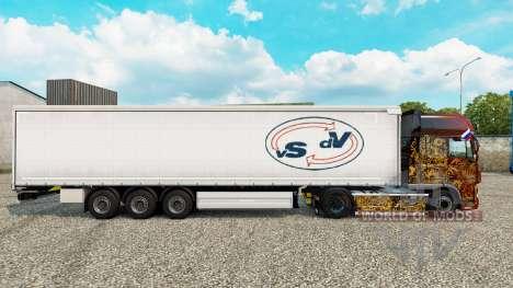 Skin Van Straalen De Vries curtain semi-trailer for Euro Truck Simulator 2