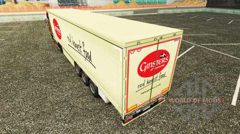 Skin Ginsters on a curtain semi-trailer for Euro Truck Simulator 2