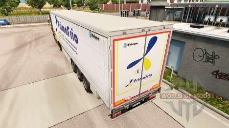 Skin Primafrio curtain semi-trailer for Euro Truck Simulator 2