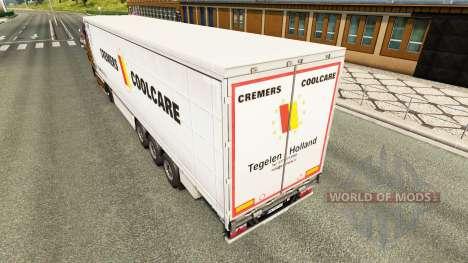 Skin Cremers Coolcare on a curtain semi-trailer for Euro Truck Simulator 2