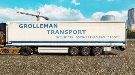 Skin Grolleman Transport on semi-trailer curtain for Euro Truck Simulator 2