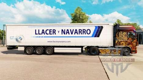 Skin Llacer y Navarro on a curtain semi-trailer for Euro Truck Simulator 2