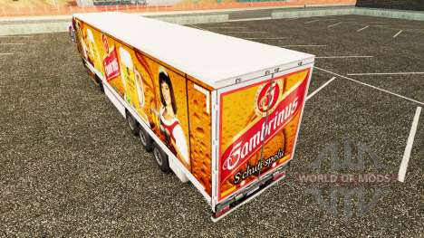 Skin Gambrinus on a curtain semi-trailer for Euro Truck Simulator 2