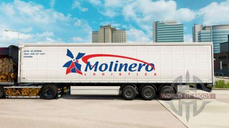 Skin Molinero Logistica on a curtain semi-traile for Euro Truck Simulator 2