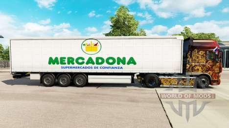 Skin Mercadona on a curtain semi-trailer for Euro Truck Simulator 2