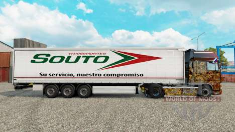 Skin Souto curtain semi-trailer for Euro Truck Simulator 2