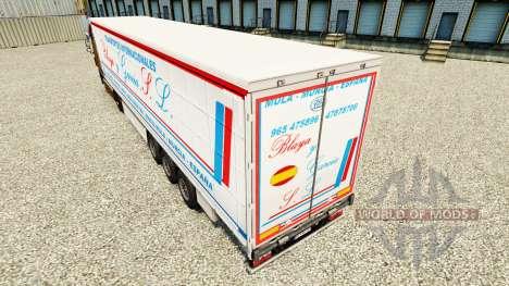 Skin Blaya Garcia y J. L. on a curtain semi-trai for Euro Truck Simulator 2