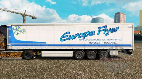 Skin Europe Flyer on a curtain semi-trailer for Euro Truck Simulator 2