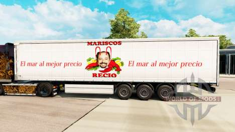 Skin Mariscos Recio on a curtain semi-trailer for Euro Truck Simulator 2