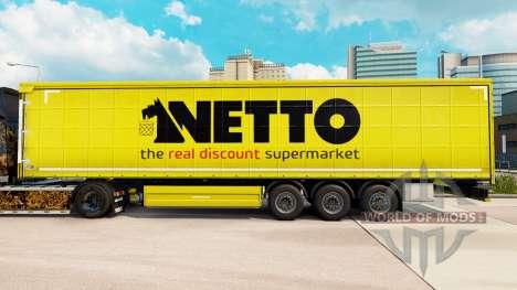 Skin Netto on a curtain semi-trailer for Euro Truck Simulator 2