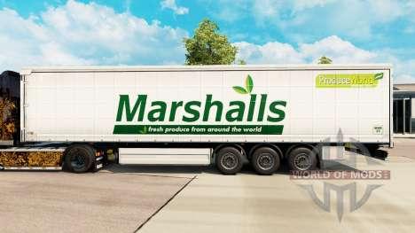 Skin Marshalls on a curtain semi-trailer for Euro Truck Simulator 2