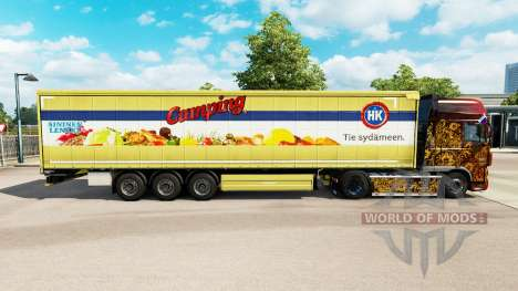 Skin HK Camping on a curtain semi-trailer for Euro Truck Simulator 2