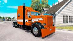 Скин Orange with White Stripes на Peterbilt 389