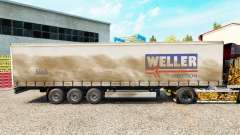 Weller Spedition skin on the trailer curtain for Euro Truck Simulator 2